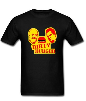 the dirty burger shirt in black with yellow print